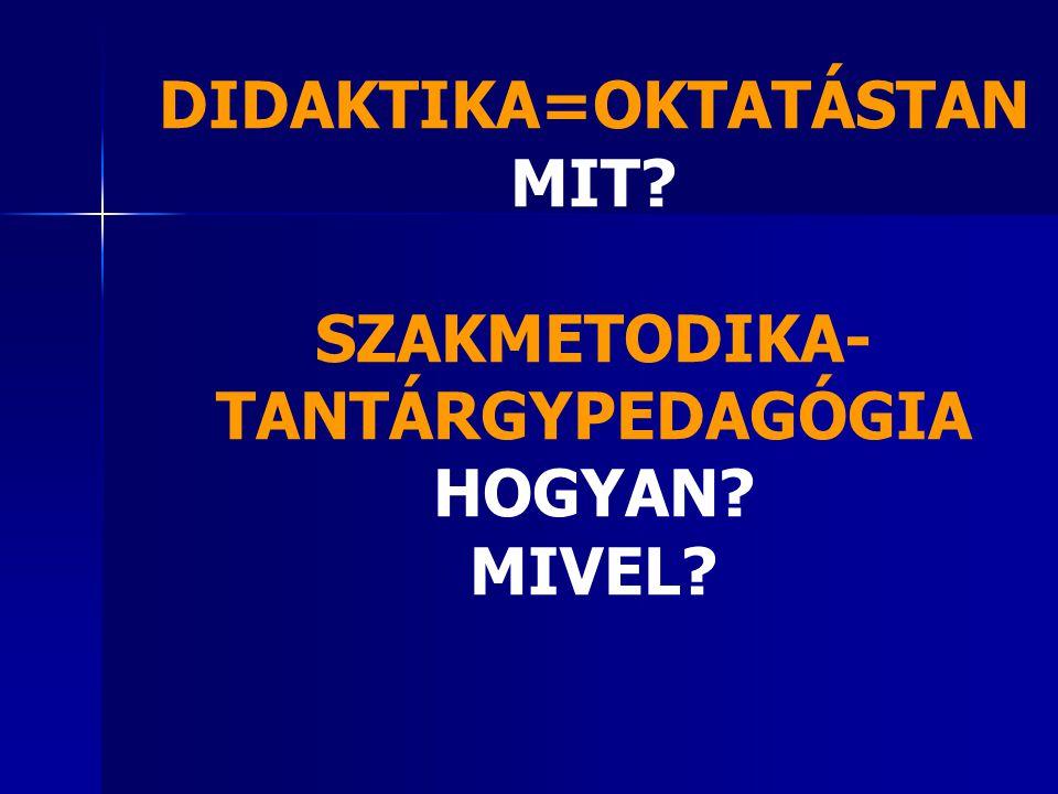 DIDAKTIKA=OKTATÁSTAN MIT SZAKMETODIKA-TANTÁRGYPEDAGÓGIA HOGYAN MIVEL