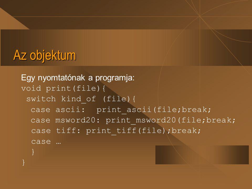 Az objektum Egy nyomtatónak a programja: void print(file){