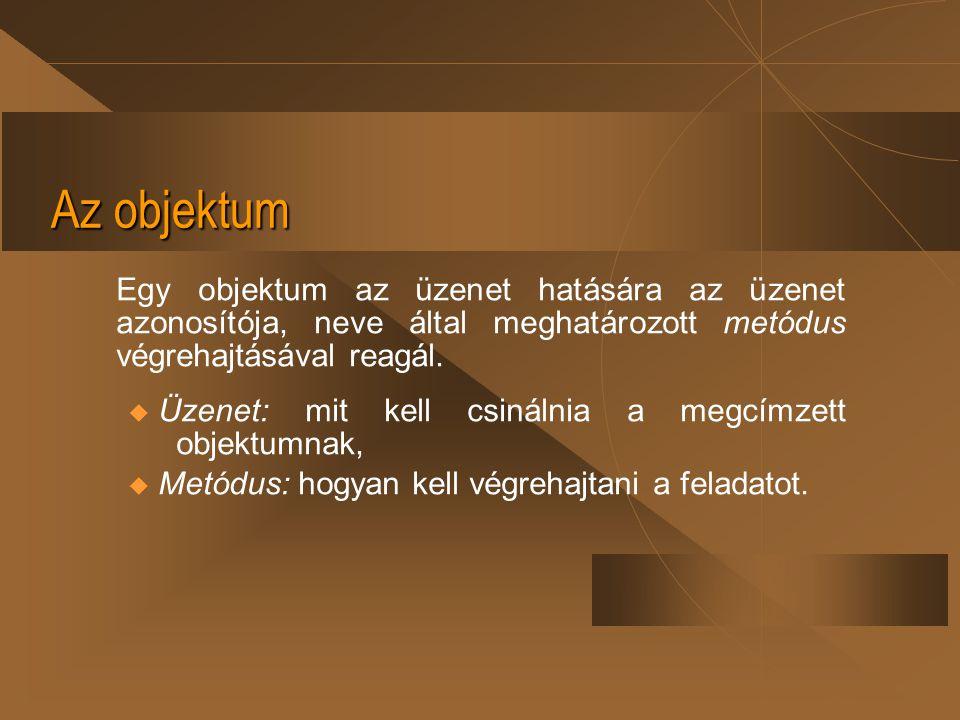Az objektum Egy objektum az üzenet hatására az üzenet azonosítója, neve által meghatározott metódus végrehajtásával reagál.