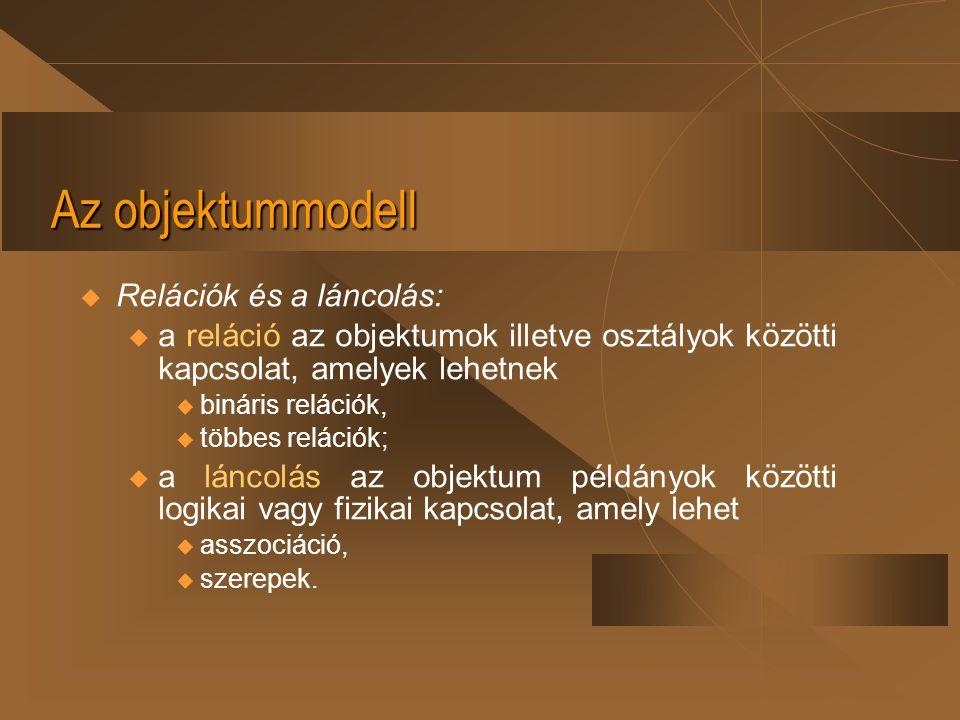 Az objektummodell Relációk és a láncolás: