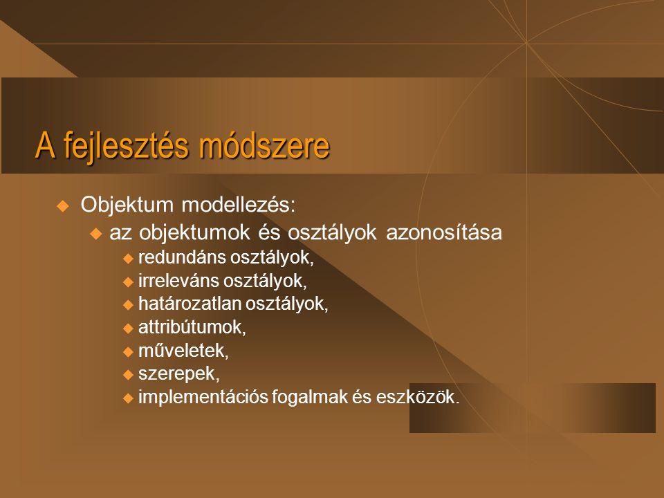 A fejlesztés módszere Objektum modellezés: