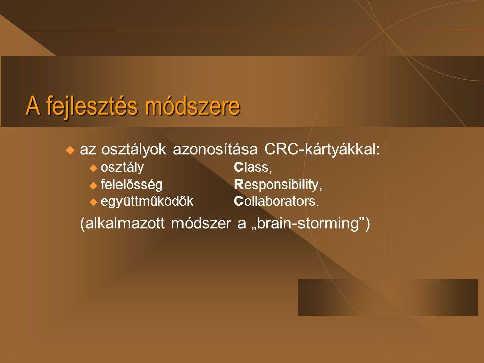A fejlesztés módszere az osztályok azonosítása CRC-kártyákkal: