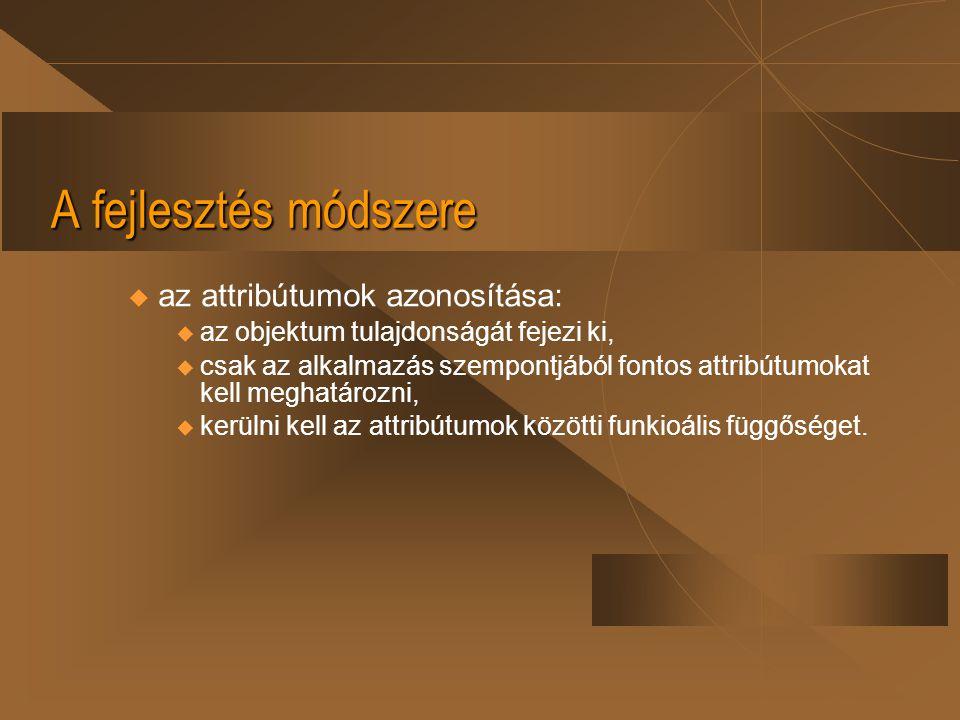 A fejlesztés módszere az attribútumok azonosítása:
