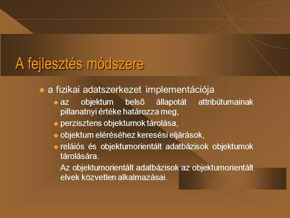 A fejlesztés módszere a fizikai adatszerkezet implementációja