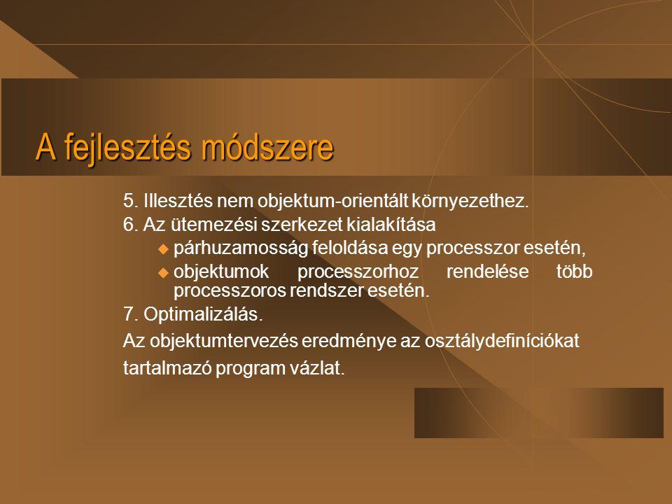 A fejlesztés módszere 5. Illesztés nem objektum-orientált környezethez. 6. Az ütemezési szerkezet kialakítása.