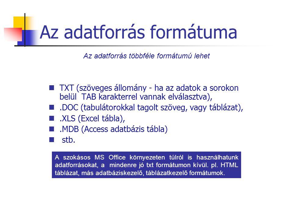 Az adatforrás formátuma