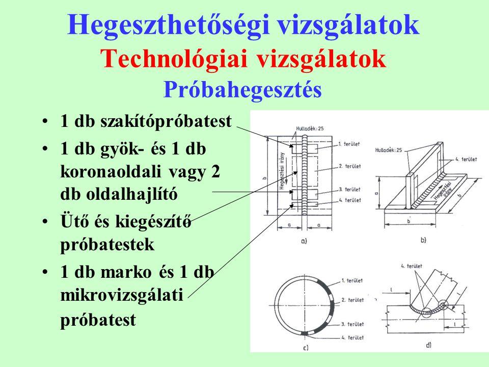 Hegeszthetőségi vizsgálatok Technológiai vizsgálatok Próbahegesztés