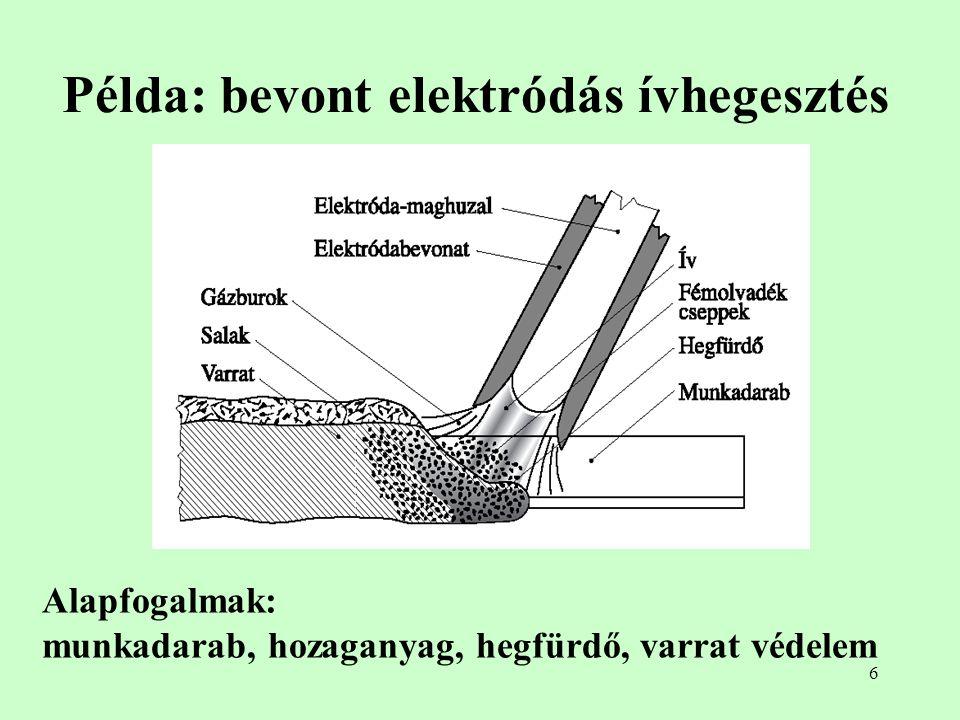 Példa: bevont elektródás ívhegesztés