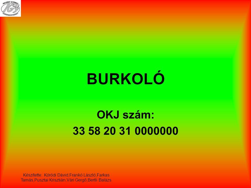 BURKOLÓ OKJ szám: 33 58 20 31 0000000.
