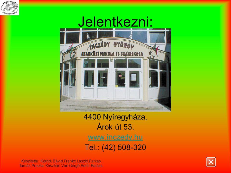 Jelentkezni: 4400 Nyíregyháza, Árok út 53. www.inczedy.hu