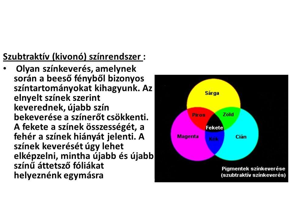 Szubtraktív (kivonó) színrendszer :