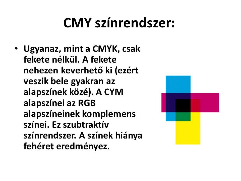 CMY színrendszer: