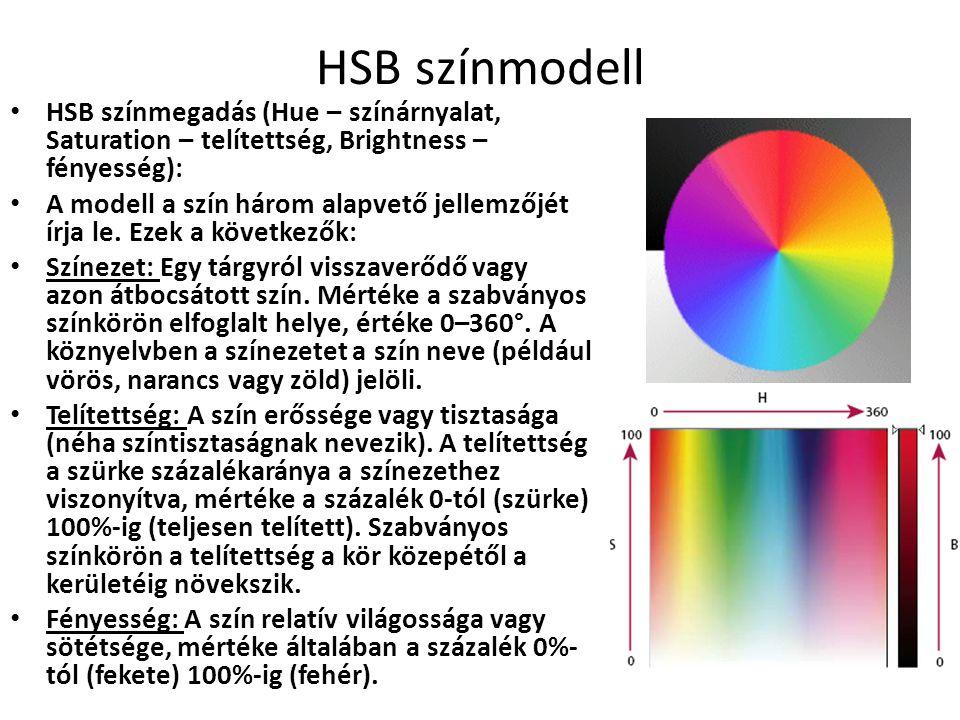 HSB színmodell HSB színmegadás (Hue – színárnyalat, Saturation – telítettség, Brightness – fényesség):