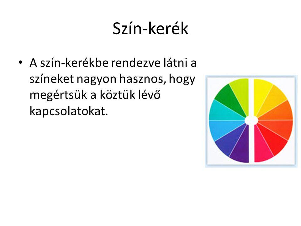 Szín-kerék A szín-kerékbe rendezve látni a színeket nagyon hasznos, hogy megértsük a köztük lévő kapcsolatokat.