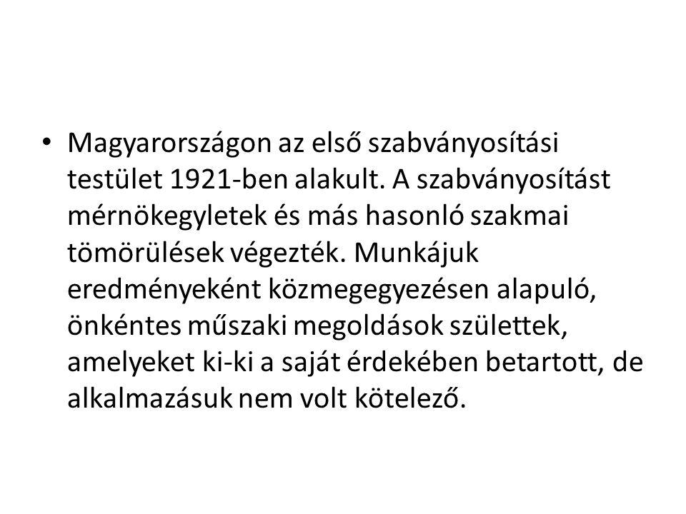 Magyarországon az első szabványosítási testület 1921-ben alakult
