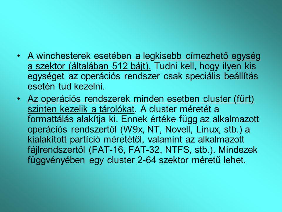 A winchesterek esetében a legkisebb címezhető egység a szektor (általában 512 bájt). Tudni kell, hogy ilyen kis egységet az operációs rendszer csak speciális beállítás esetén tud kezelni.