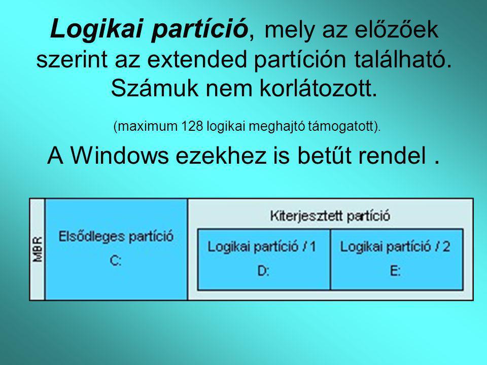 Logikai partíció, mely az előzőek szerint az extended partíción található.
