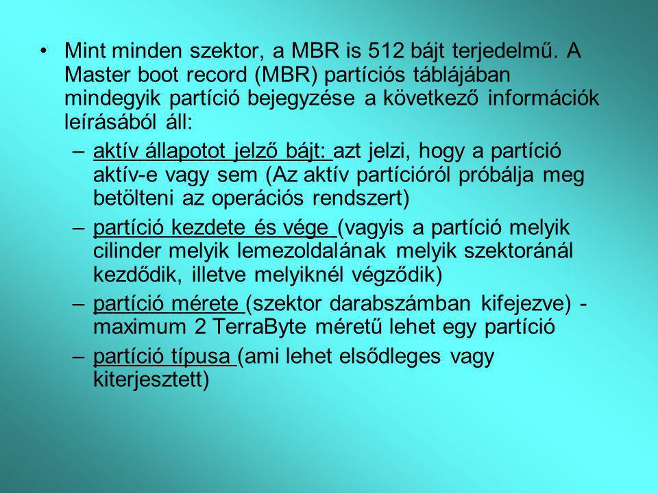 Mint minden szektor, a MBR is 512 bájt terjedelmű