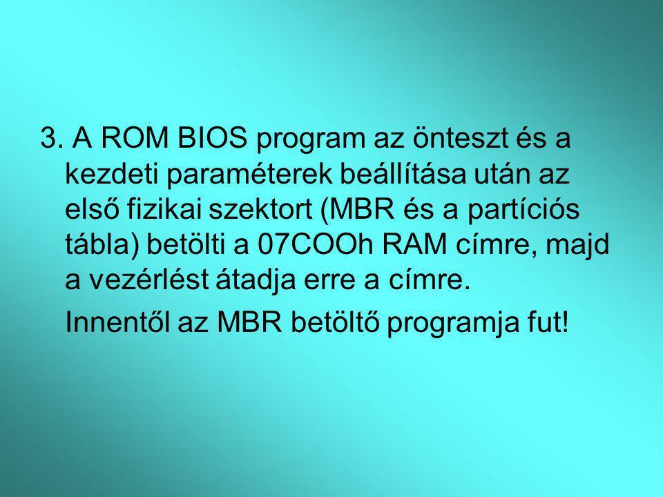 3. A ROM BIOS program az önteszt és a kezdeti paraméterek beállítása után az első fizikai szektort (MBR és a partíciós tábla) betölti a 07COOh RAM címre, majd a vezérlést átadja erre a címre.
