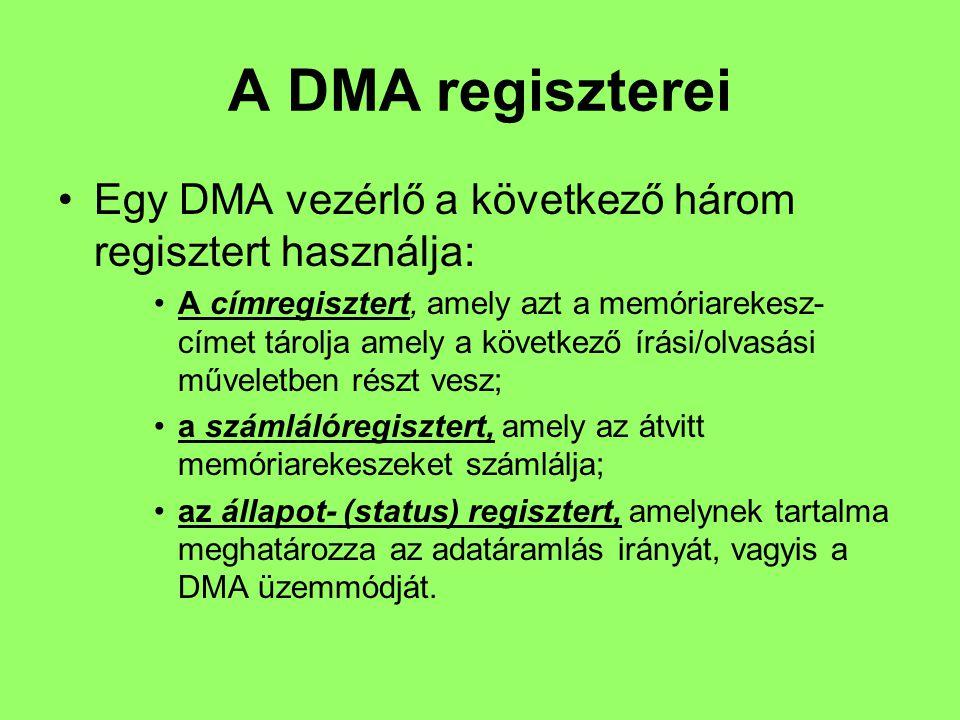 A DMA regiszterei Egy DMA vezérlő a következő három regisztert használja: