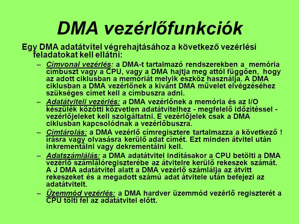 DMA vezérlőfunkciók Egy DMA adatátvitel végrehajtásához a következő vezérlési feladatokat kell ellátni: