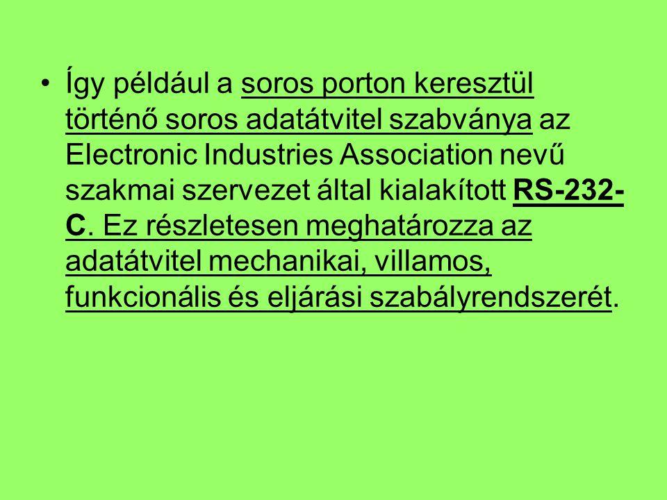 Így például a soros porton keresztül történő soros adatátvitel szabványa az Electronic Industries Association nevű szakmai szervezet által kialakított RS-232-C.