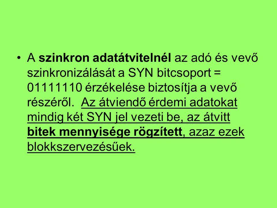 A szinkron adatátvitelnél az adó és vevő szinkronizálását a SYN bitcsoport = 01111110 érzékelése biztosítja a vevő részéről.