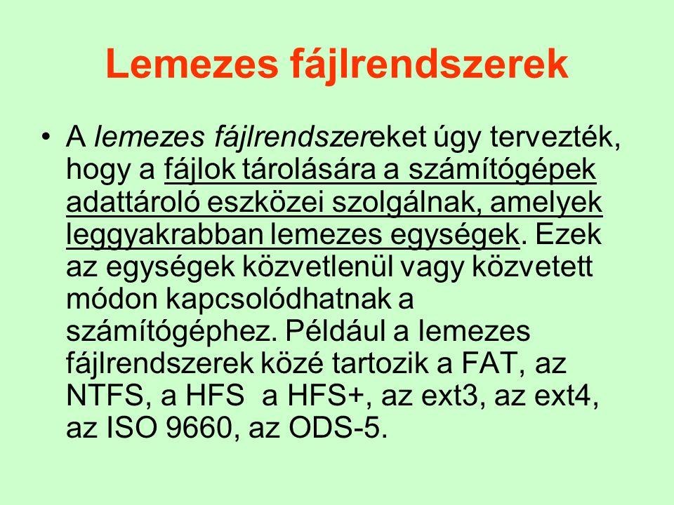 Lemezes fájlrendszerek