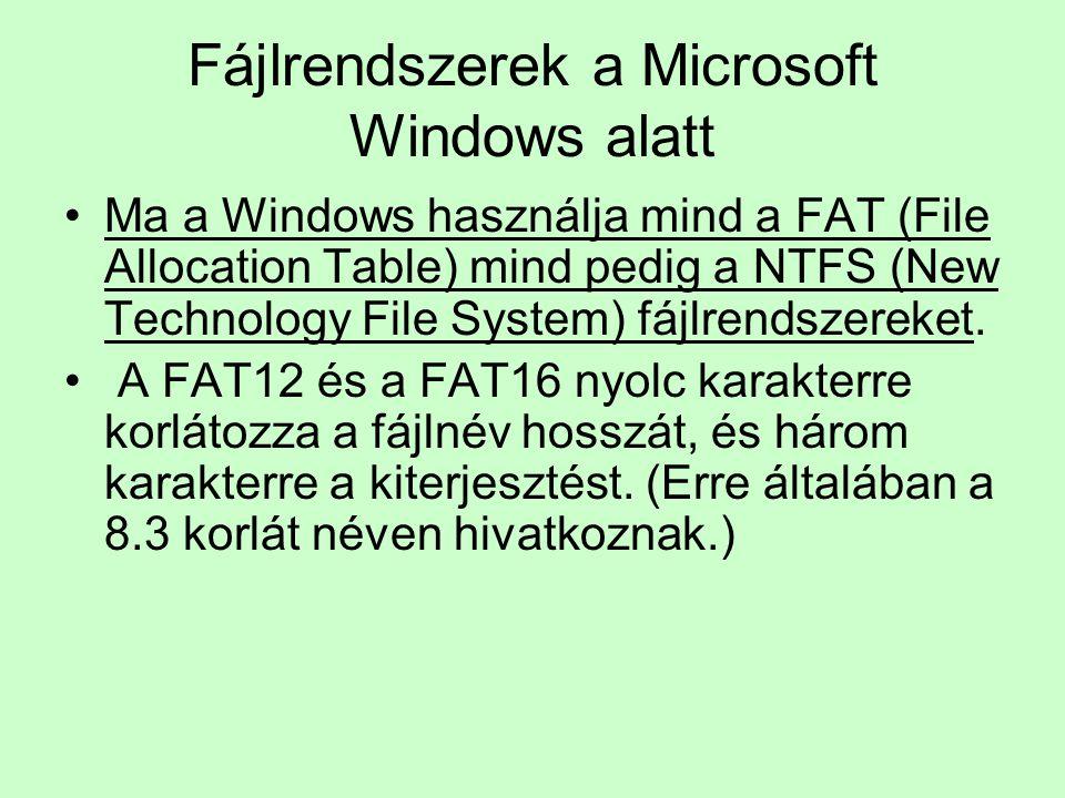 Fájlrendszerek a Microsoft Windows alatt