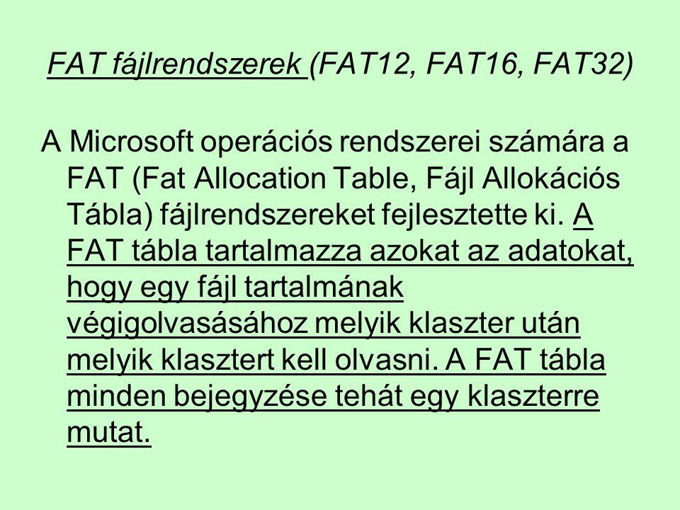 FAT fájlrendszerek (FAT12, FAT16, FAT32)