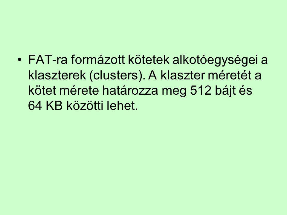 FAT-ra formázott kötetek alkotóegységei a klaszterek (clusters)