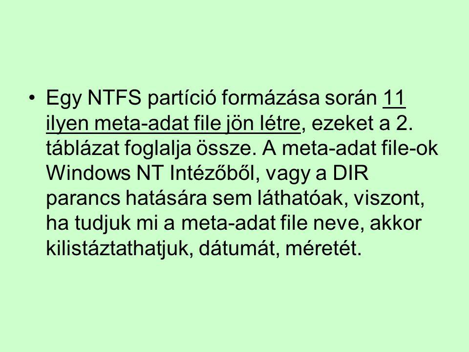 Egy NTFS partíció formázása során 11 ilyen meta-adat file jön létre, ezeket a 2.