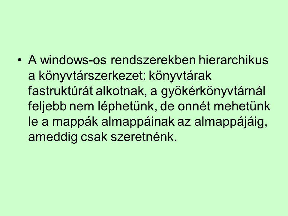 A windows-os rendszerekben hierarchikus a könyvtárszerkezet: könyvtárak fastruktúrát alkotnak, a gyökérkönyvtárnál feljebb nem léphetünk, de onnét mehetünk le a mappák almappáinak az almappájáig, ameddig csak szeretnénk.
