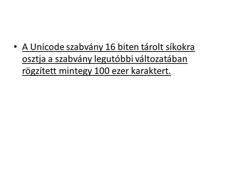 A Unicode szabvány 16 biten tárolt síkokra osztja a szabvány legutóbbi változatában rögzített mintegy 100 ezer karaktert.