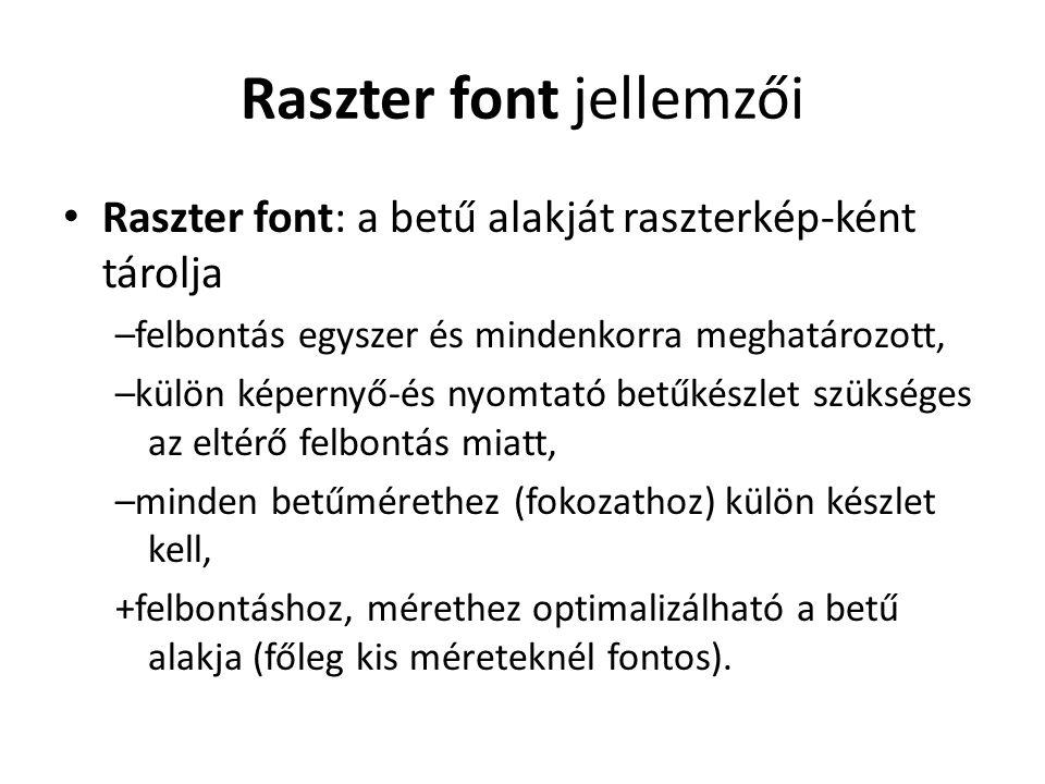 Raszter font jellemzői