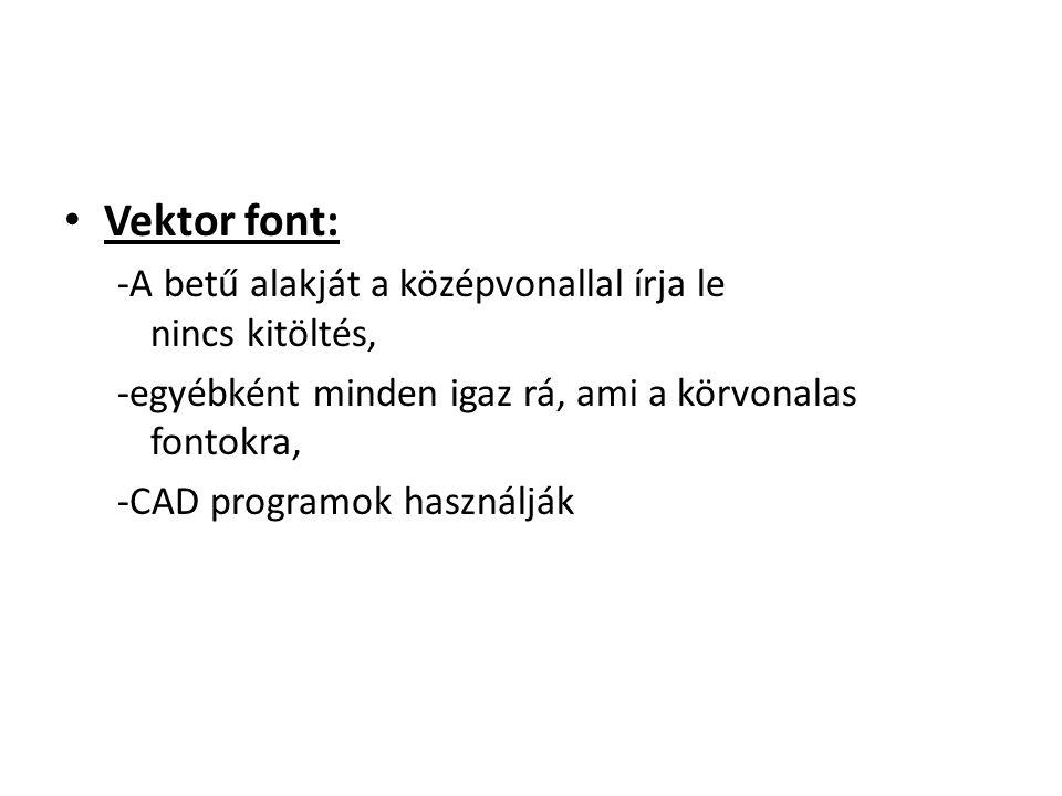 Vektor font: -A betű alakját a középvonallal írja le nincs kitöltés,