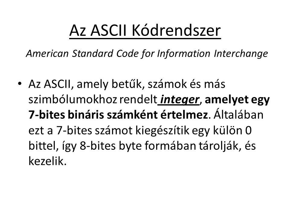 Az ASCII Kódrendszer American Standard Code for Information Interchange