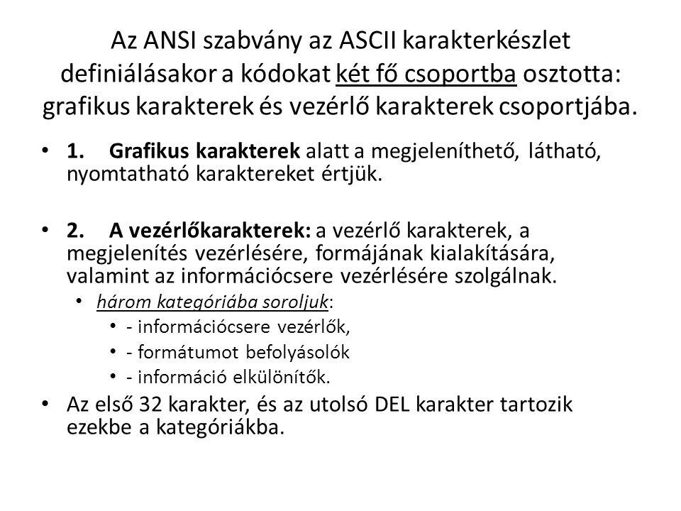 Az ANSI szabvány az ASCII karakterkészlet definiálásakor a kódokat két fő csoportba osztotta: grafikus karakterek és vezérlő karakterek csoportjába.