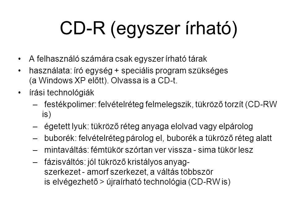 CD-R (egyszer írható) A felhasználó számára csak egyszer írható tárak