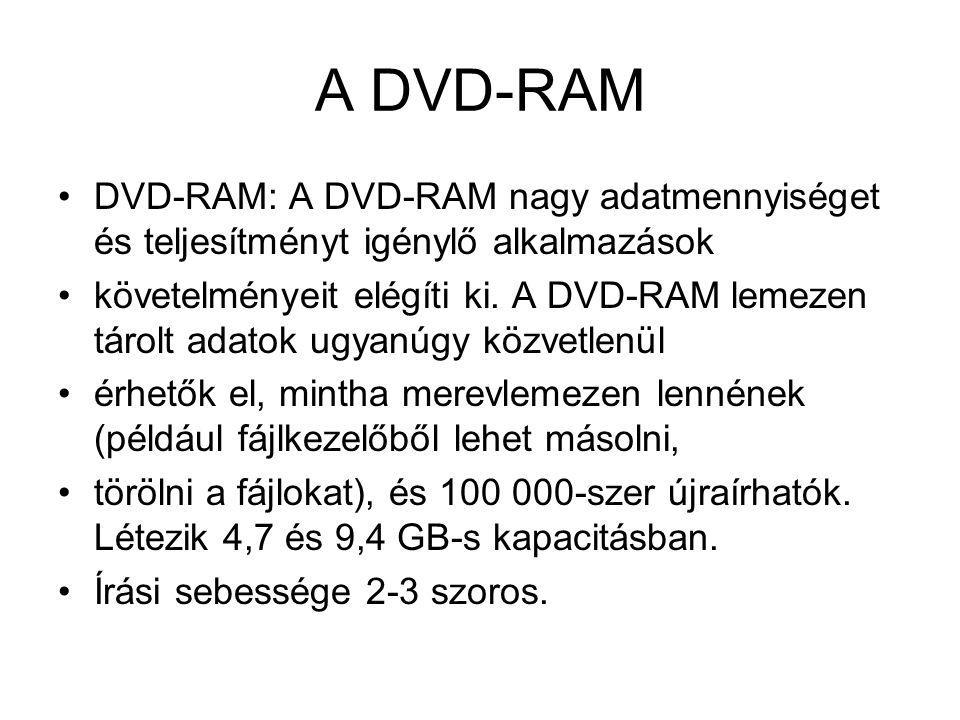 A DVD-RAM DVD-RAM: A DVD-RAM nagy adatmennyiséget és teljesítményt igénylő alkalmazások.