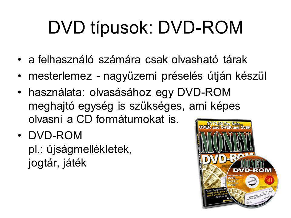 DVD típusok: DVD-ROM a felhasználó számára csak olvasható tárak
