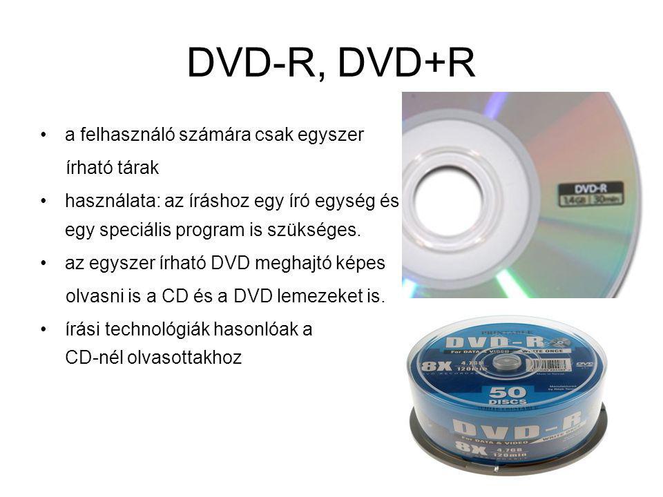 DVD-R, DVD+R a felhasználó számára csak egyszer írható tárak