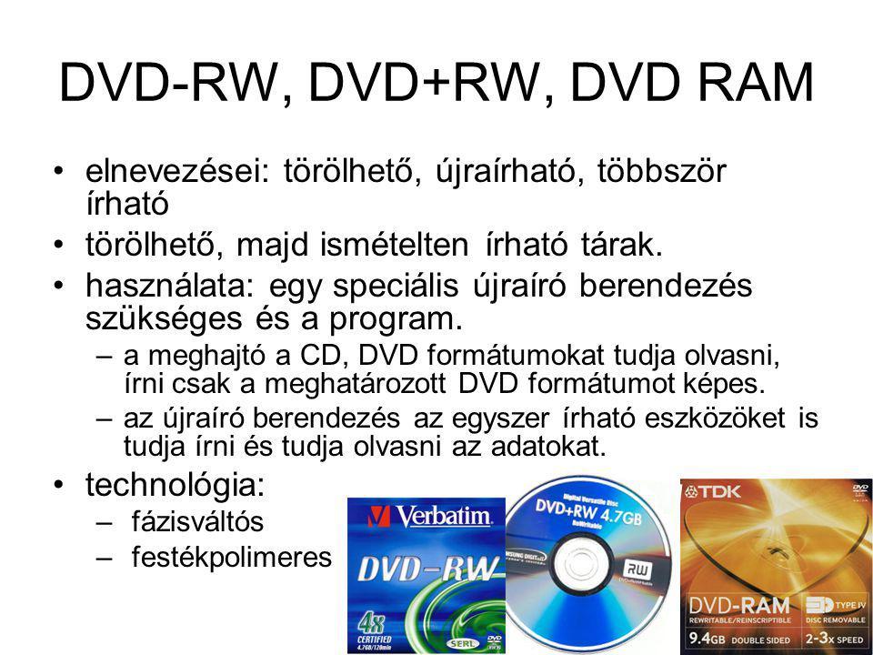 DVD-RW, DVD+RW, DVD RAM elnevezései: törölhető, újraírható, többször írható. törölhető, majd ismételten írható tárak.