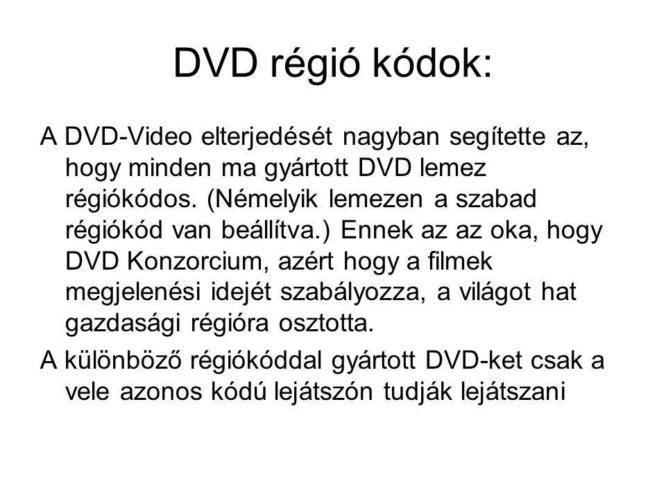 DVD régió kódok: