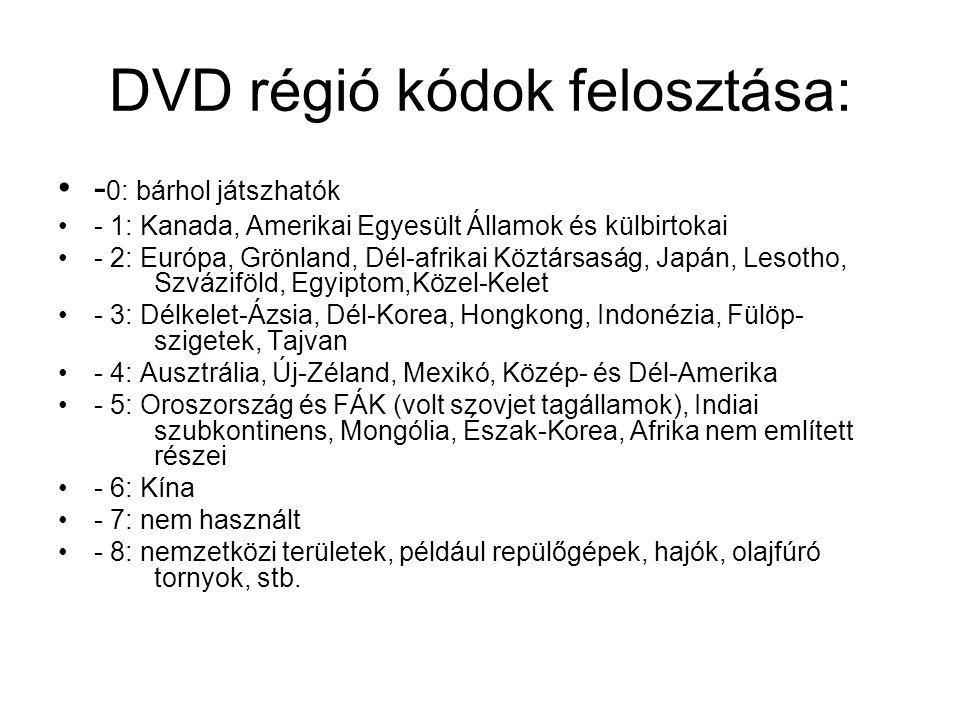 DVD régió kódok felosztása: