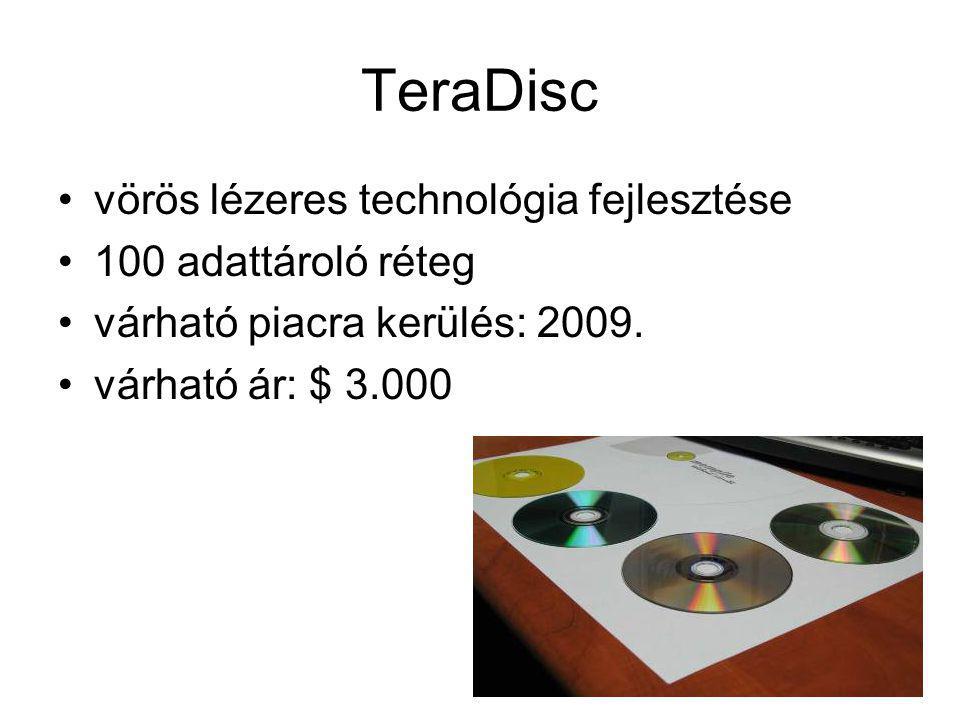 TeraDisc vörös lézeres technológia fejlesztése 100 adattároló réteg
