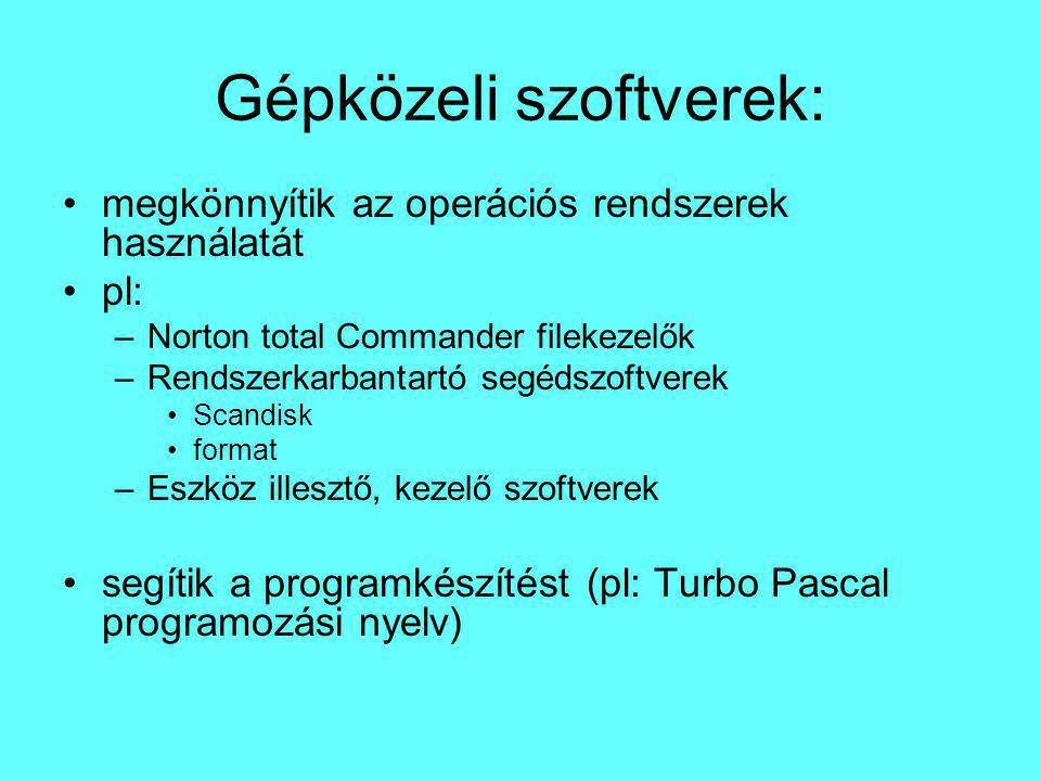 Gépközeli szoftverek:
