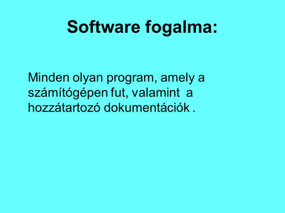 Software fogalma: Minden olyan program, amely a számítógépen fut, valamint a hozzátartozó dokumentációk .