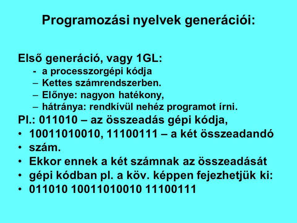 Programozási nyelvek generációi: