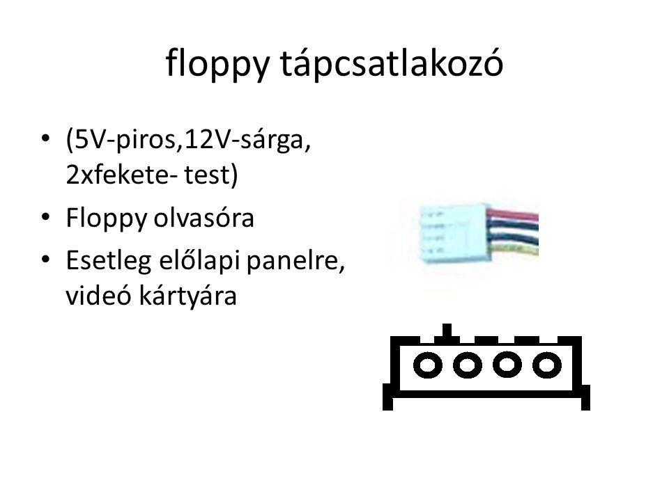 floppy tápcsatlakozó (5V-piros,12V-sárga, 2xfekete- test)